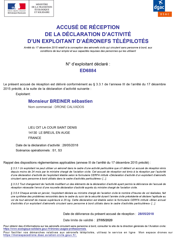réglementation : déclaration d'activité pilote de drone à la DGAC