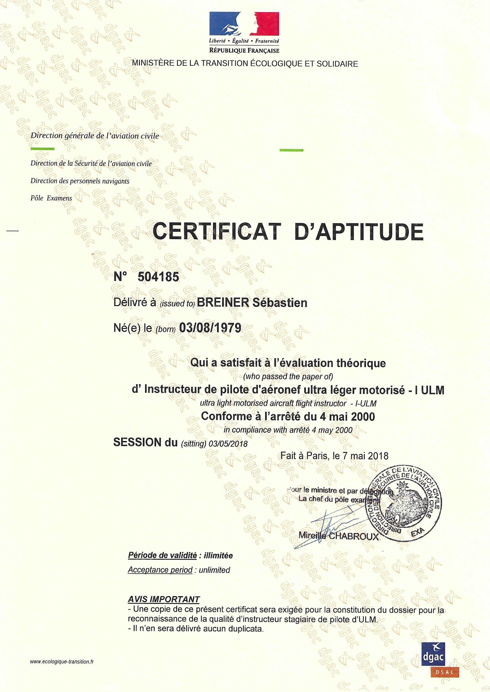 réglementation : certicat instructeur pilote de drone