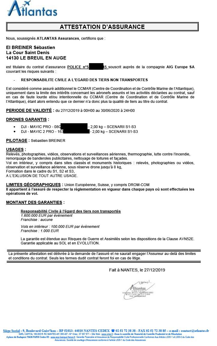 réglementation : attestation d'assurance